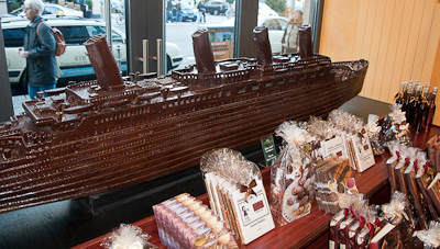 A model of the Titanic in chocolate at Fassbender & Rausch